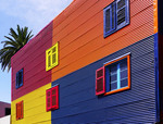 Colorfully painted building in La Boca barrio of Buenos Aires, Argentina.
