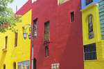 Colorfully painted buildings in La Boca barrio of Buenos Aires, Argentina.