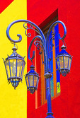 Colorful street lamp and buildings in La Boca barrio of Buenos Aires, Argentina.