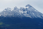 Summit of mountain peak along Beagle Channel in Argentina.