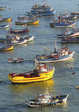 Colorful fishing boats anchored in harbor at San Antonio, Chile.
