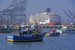 Harbor of port of San Antonio, Chile, with fishing boats and cruise ship Norwegian Sun.