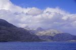 Rocky shore along Chile's Strait of Magellan.