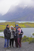 Group selfie at Torres del Paine National Park in Patagonia region of Chile.