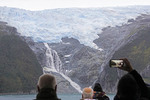 Cruise ship passengers viewing glacier in the Beagle Channel in Argentina from the Norwegian Sun's observation deck.
