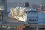 Norwegian Sun cruise ship docked in port of San Antonio, Chile.