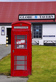 British telephone box at Port Stanley, The Falkland Islands (Malvinas).
