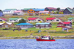 Port Stanley houses along harbor, The Falkland Islands (Malvinas).