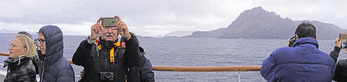 Panoramic of selfie by cruise ship passenger at Cape Horn.