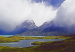 Peaks shrouded in clouds in Torres del Paine National Park in the Patagonia region of Chile during early summer.