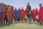 Maasai warriors dancing in village near Ngorongoro Crater, Tanzania.