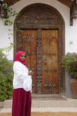 Traditional carved door on residence in Zanzibar's Stone Town.