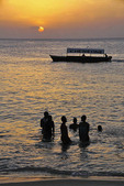 Sunset on a Stone Town beach in Zanzibar.