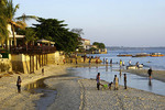 Zanzibar's Stone Town waterfront hotel resorts and beach activity.