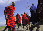 Maasai warriors dancing at their village near Ngorongoro Crater in Tanzania.