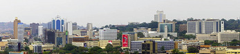 Panoramic city skyline of Kampala, Uganda.