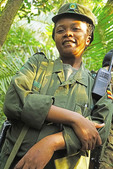 Uganda Wildlife Authority guide to chimpanzee trekking in Kibale National Park forest.