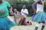 Drummers of the traditional Ankole Kingdom song and dance troop entertaining at Nshenyi Cultural Center in Kitwe, Uganda.