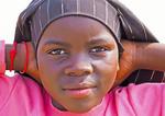 Nine year old Muslim girl in fishing village on Lake Edward in Queen Elizabeth National Park