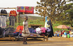 Merchandise selling at roadside kiosk in Kampala, Uganda.