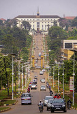 The Royal Mile to the Buganda Parliament building (above) from the Kabaka Palace in Kampala, Uganda.