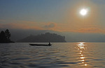 Lone canoe on Lake Bunyonyi, Uganda.