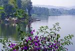 Scenic Lake Bunyonyi near Kabale, Uganda.