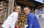 Portrait of two young women in the village of Ribnovo, Bulgaria.