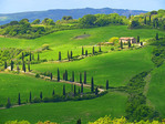 Curving road to La Foce lined with cypress trees and farm house in Tuscany, Italy.