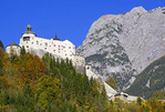 Hohenwerfen Castle at Werfen, Austria, in the Berchtesgaden Alps.