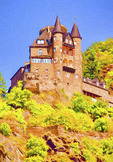 Katz Castle (Burg Katz) overlooking town of St. Goarshausen and Rhine River.  --Digital Photo Art Painting