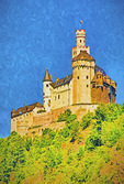 Marksburg Castle overlooking middle Rhine River near Braubach. --Digital Photo Art Painting