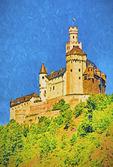 Marksburg Castle overlooking middle Rhine River near Braubach. --Digital Photo Art Painting