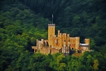Stolzenfels Castle surrounded by forest and overlooking Rhine River near Koblenz, Digital Photo Art Painting