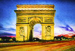 Paris Arc de Triomphe at night.  --Digital Photo Art Painting