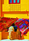 Colorful building housing a shop along Bay of Bengal waterfront in Kanyakumari, Tamil Nadu, India.  --Digital photo art painting