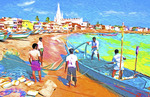 Fishermen on Bay of Bengal waterfront in Kanyakumari, Tamil Nadu, India.  --Digital photo art painting