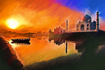 Taj Mahal with sunrise over the Yamuna River.  --Digital Photo Art Painting
