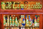 Shop selling limoncello liquer in Amalfi, Italy.  --Digital Photo Art Painting