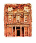 Facade of The Treasury, Petra.  --Digital Photo Art Painting