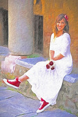 Bride wearing red tennis shoes in Ohrid, Macedonia.