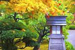 Portland Japanese Garden in autumn.  -- Digital Photo Art Painting