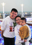 One-child Chinese middle class family on cruise ship Quantum of the Seas cruising to Japan from China.