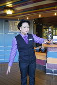 Beverage worker from Philippines on Holland America cruise ship m/s Westerdam.