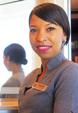 Beauty technician from South Africa on cruise ship m/s Westerdam.