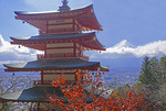 Chureito Pagoda Buddhist temple with Mt Fuji in background.
