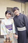 Young Japanese couple wearing yakuta kimonos in Kyoto.
