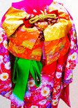 Formal traditional kimono worn on special occasions, at Sumiyoshi Shinto shrine in Fukuoka, Japan.