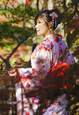 Japanese woman wearing traditional kimono in north garden of Tofukuji in Kyoto.