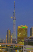Tokyo Skytree with moon
